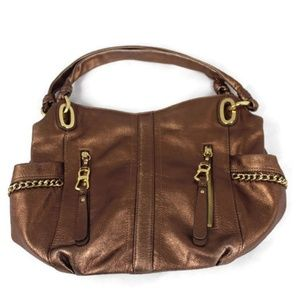 B. Makowsky Metallic Pebble Leather Handbag
